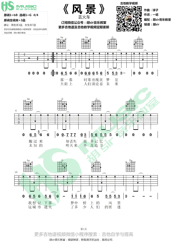 風景-丟火車樂隊-图片吉他谱-1