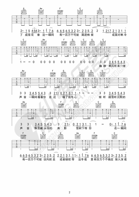 一百萬個可能-克麗絲叮-图片吉他谱-2