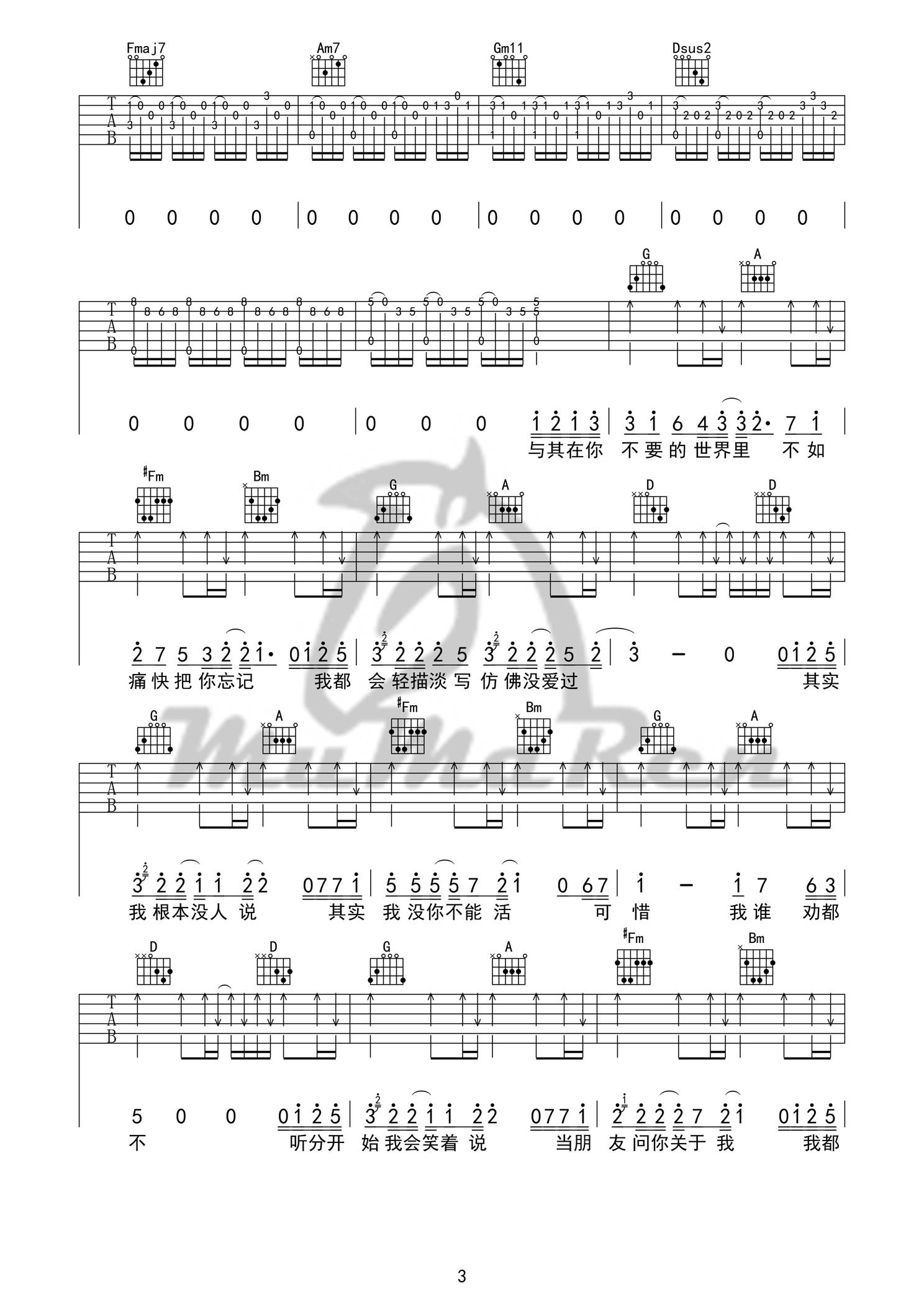 其實,我就在你的方圓幾裏-薛之謙-图片吉他谱-3