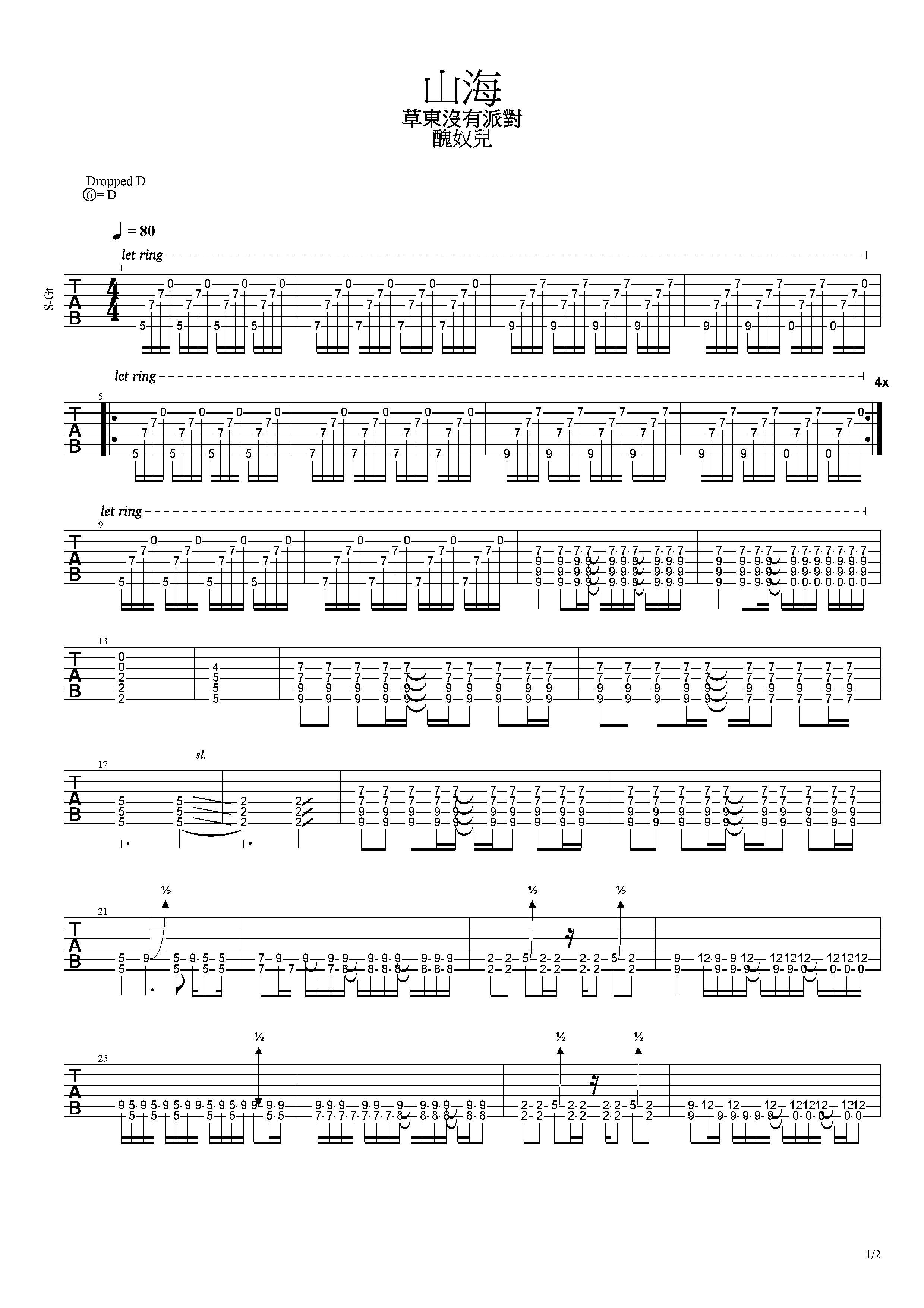 山海-草東沒有派對-图片吉他谱-1