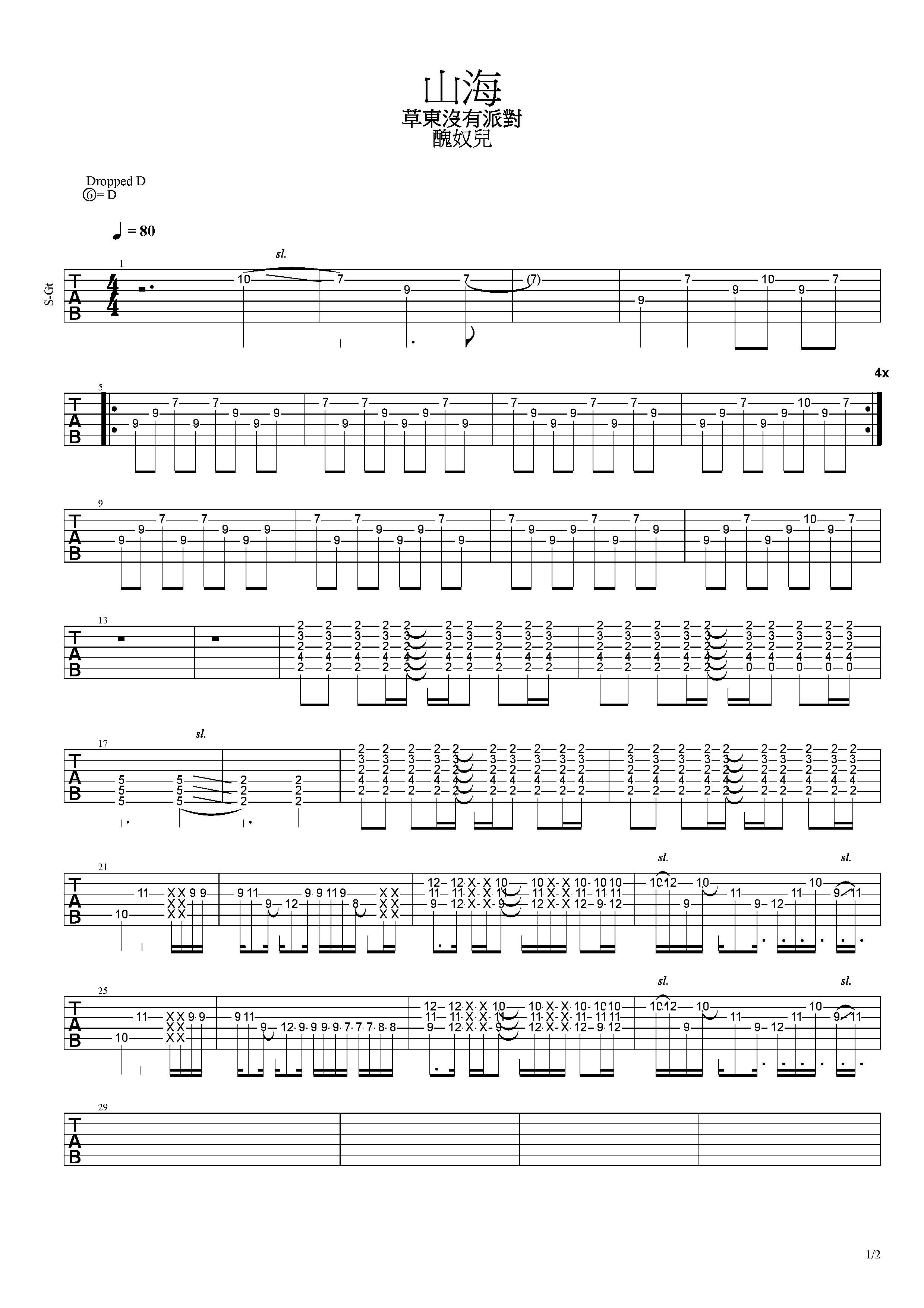 山海-草東沒有派對-图片吉他谱-3