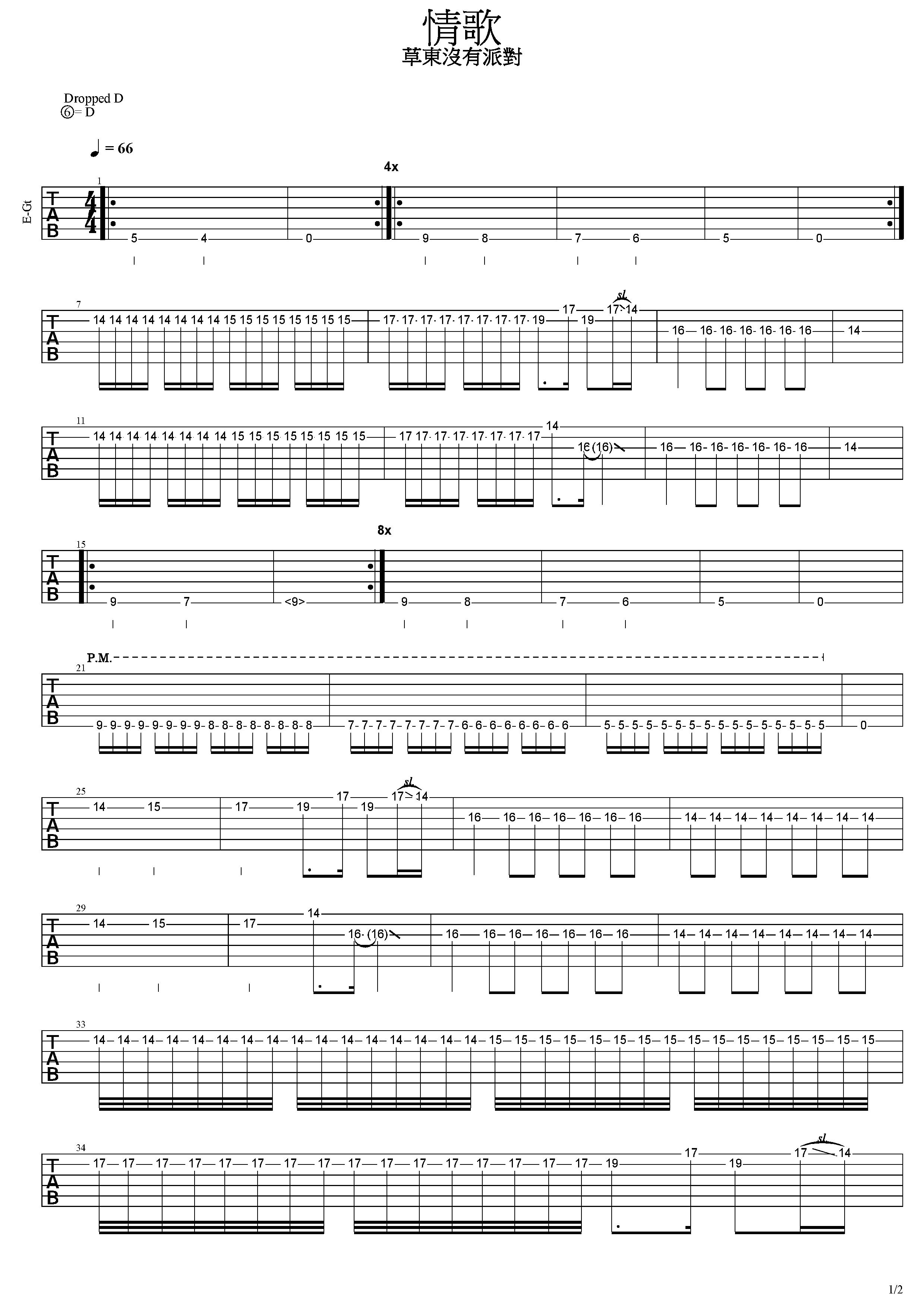 情歌-草東沒有派對-图片吉他谱-1