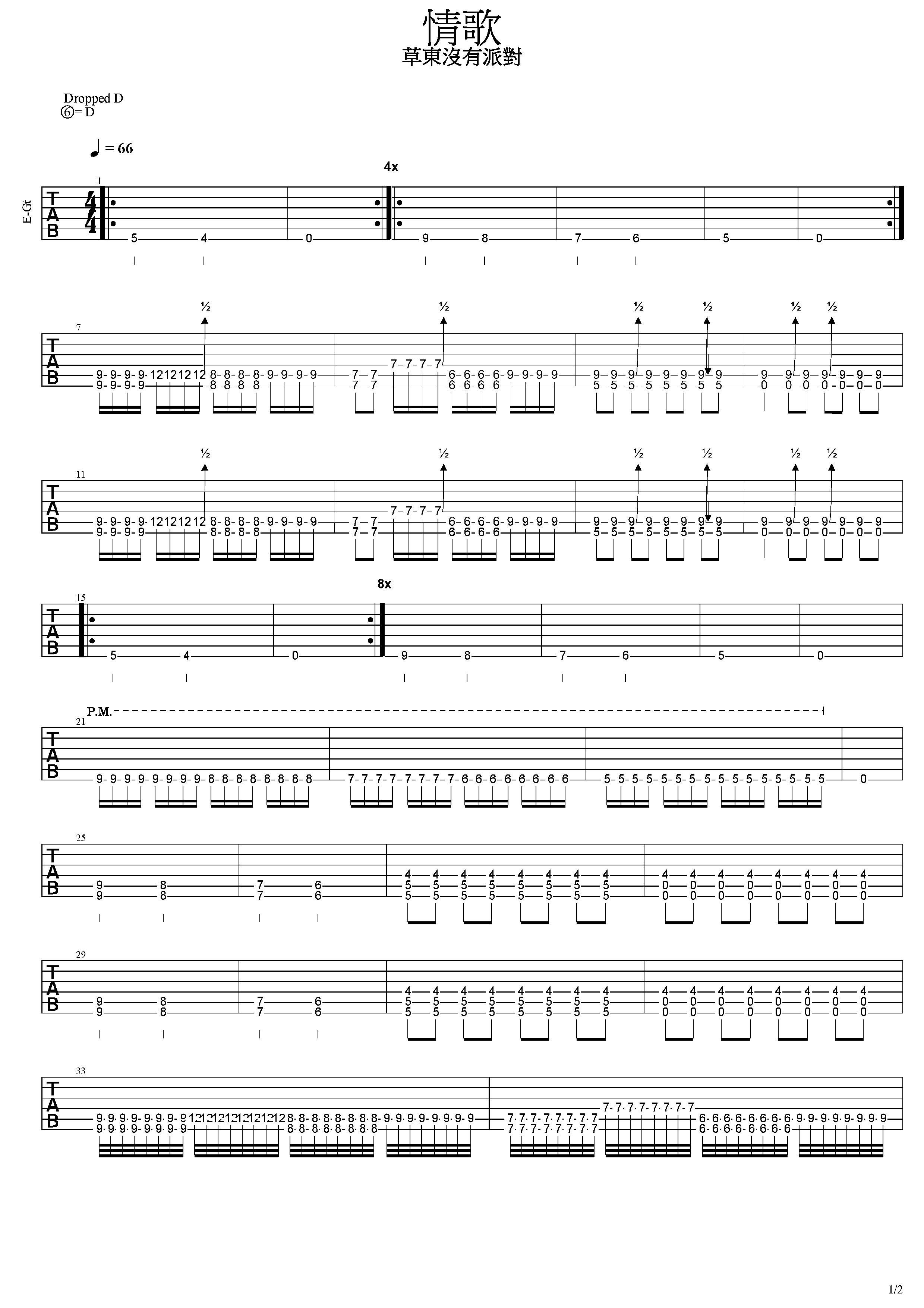 情歌-草東沒有派對-图片吉他谱-3