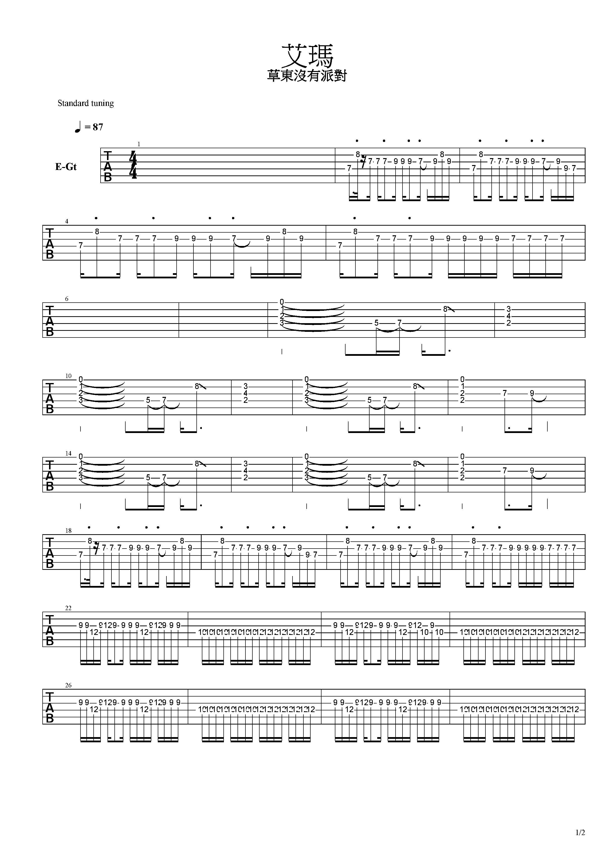 艾瑪-草東沒有派對-图片吉他谱-3