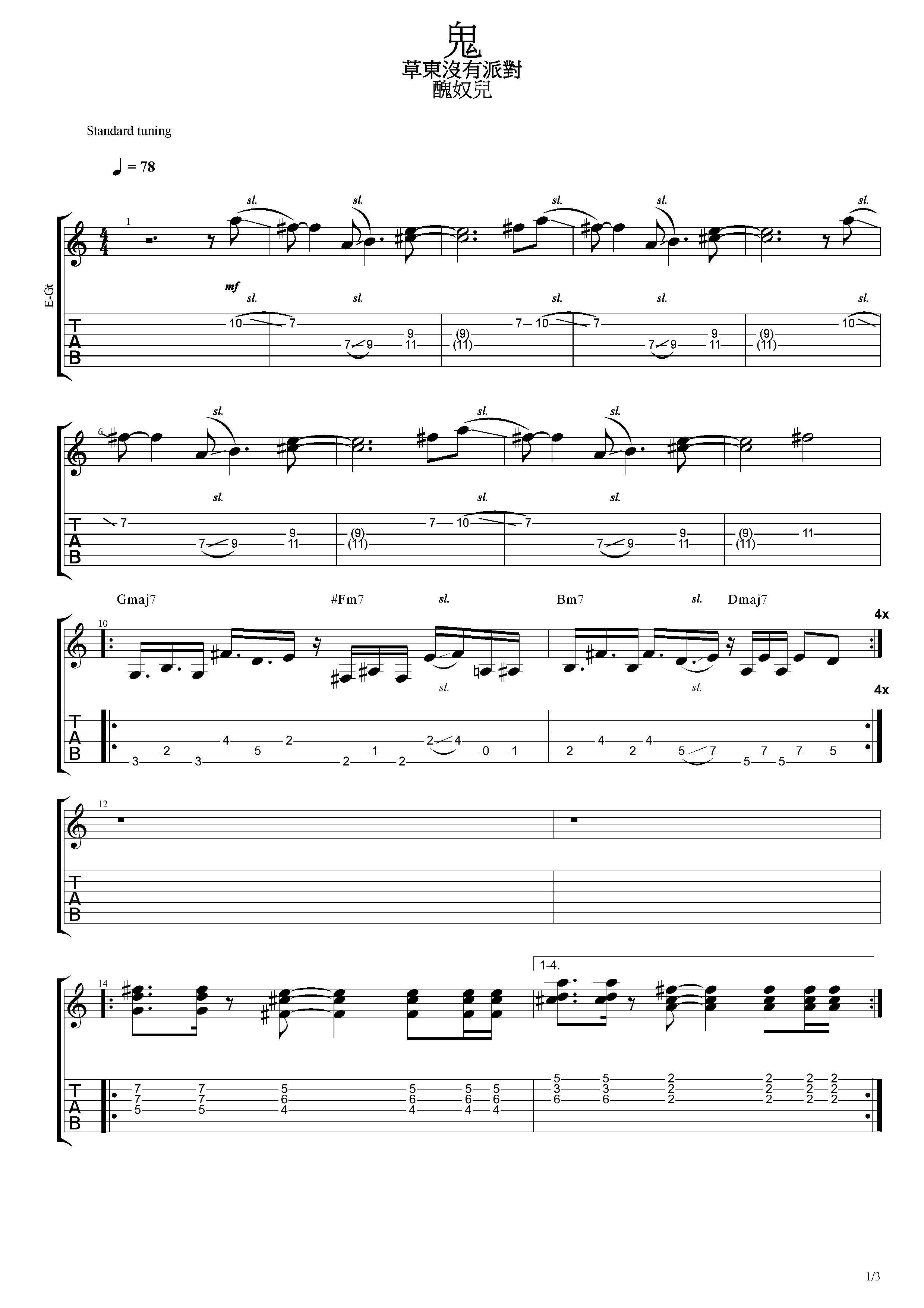 鬼-草東沒有派對-图片吉他谱-1
