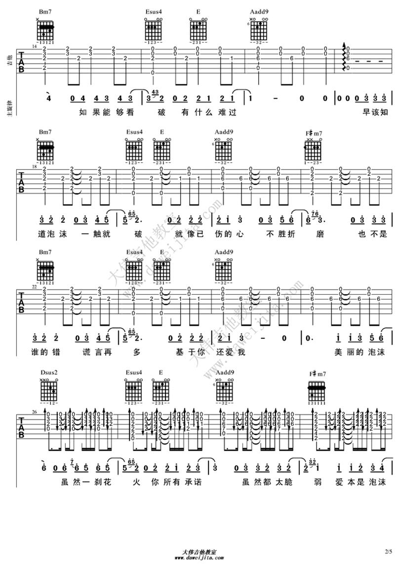 泡沫-鄧紫棋 / G.E.M.-图片吉他谱-1