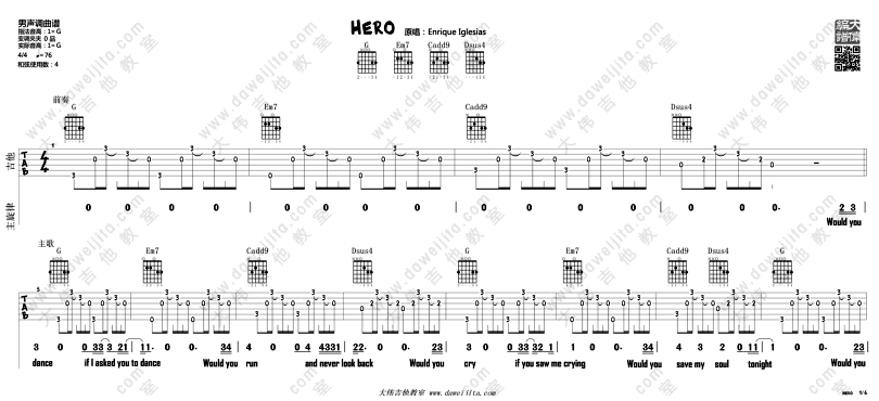 Hero-Enrique Iglesias-图片吉他谱-0