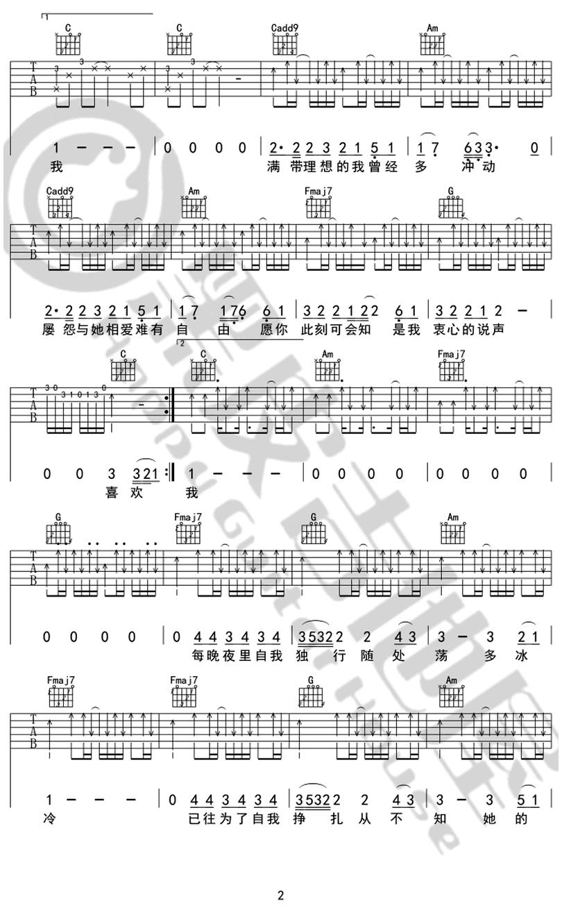 喜歡你-鄧紫棋 / G.E.M.-图片吉他谱-1