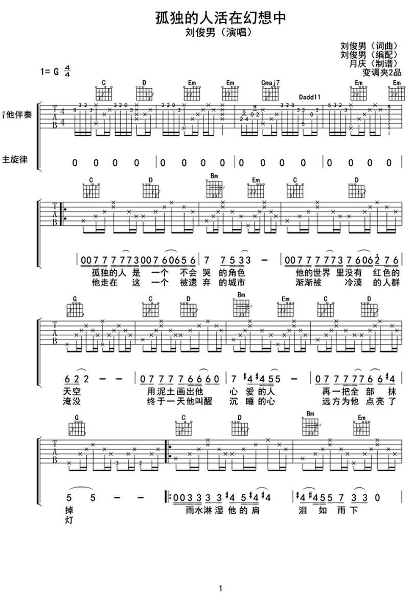 孤獨的人活在幻想中-劉俊男-图片吉他谱-0