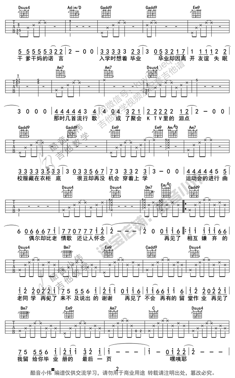 不說再見-許飛-图片吉他谱-1