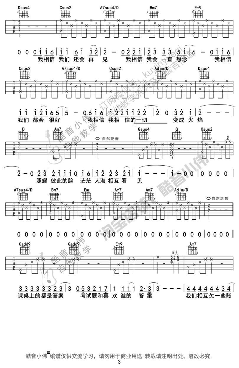 不說再見-許飛-图片吉他谱-2