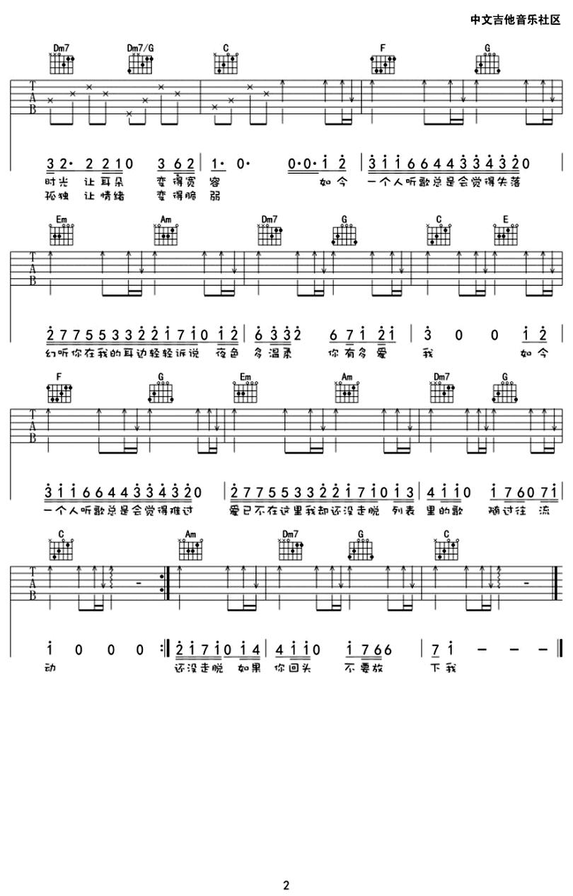 幻聽-許嵩-图片吉他谱-1