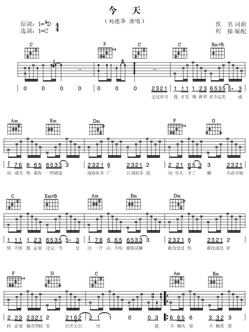 今天-劉德華-图片吉他谱-0
