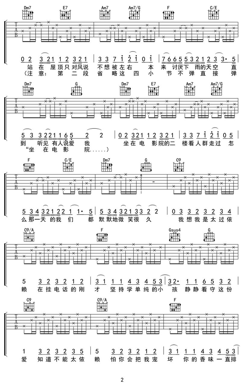你聽得到-周杰倫-图片吉他谱-1