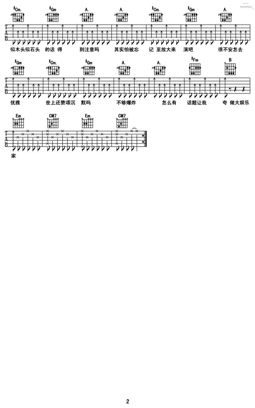 浮誇-陳奕迅-图片吉他谱-1