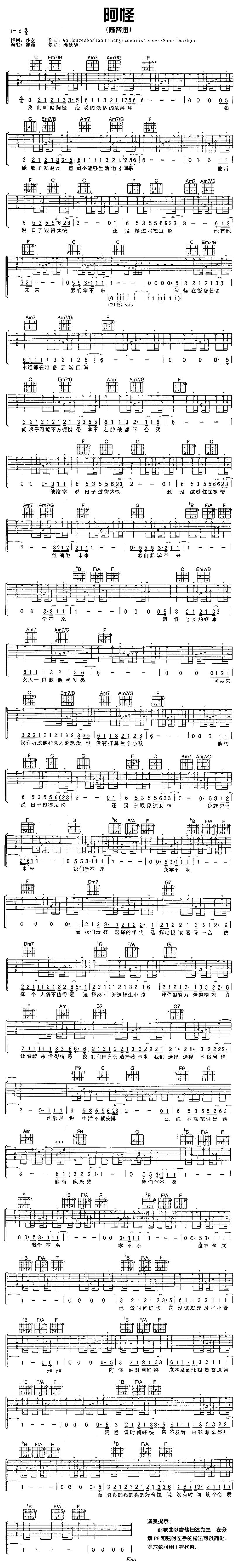 阿怪-陳奕迅-图片吉他谱-0