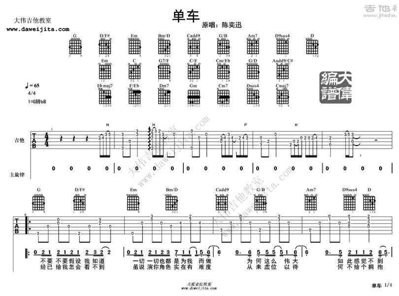 單車-陳奕迅-图片吉他谱-0