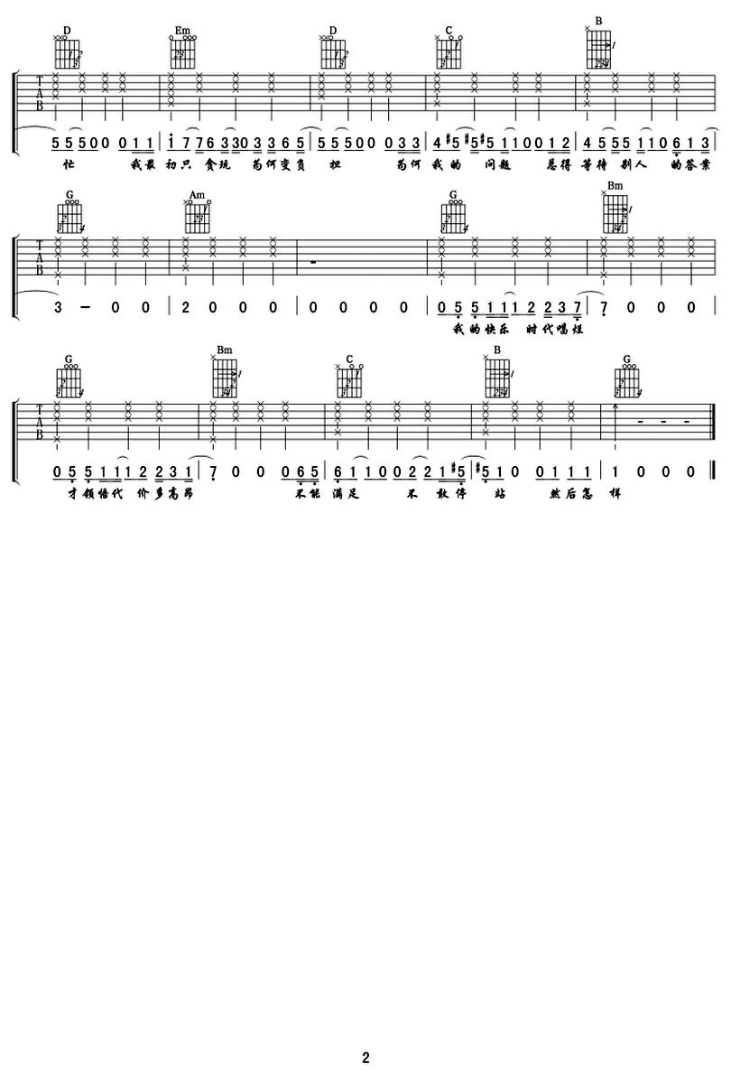 然後怎樣-陳奕迅-图片吉他谱-1