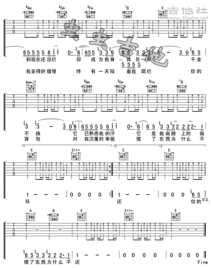 你的揹包-陳奕迅-图片吉他谱-1