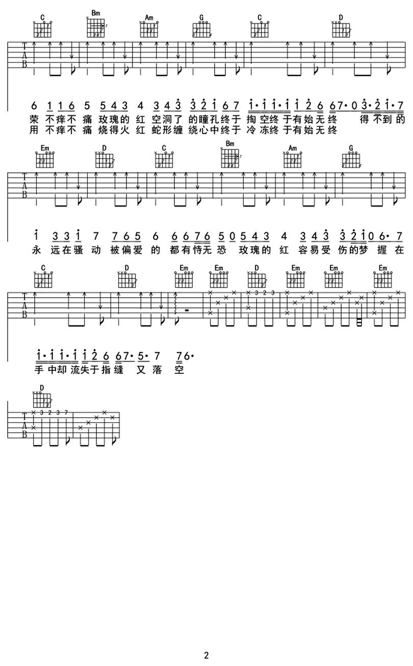 紅玫瑰-陳奕迅-图片吉他谱-1