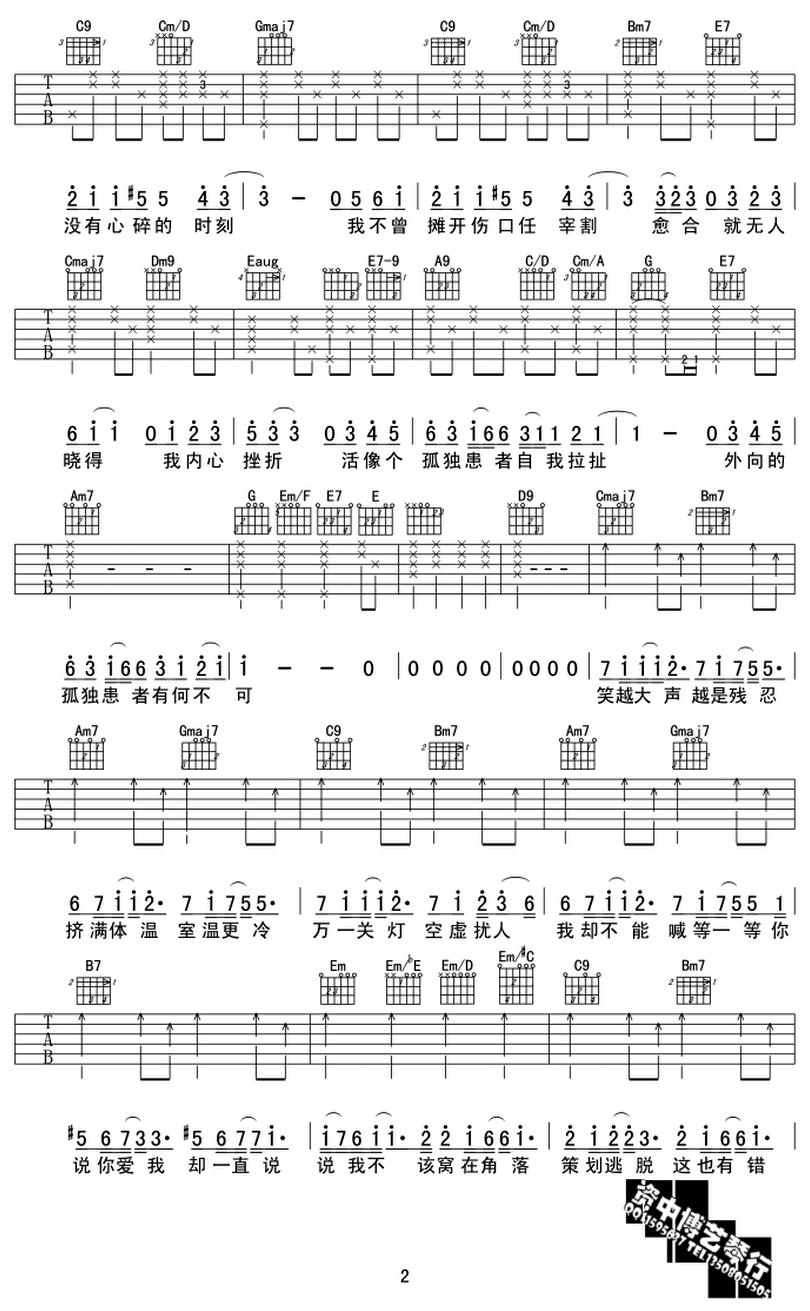 孤獨患者-陳奕迅-图片吉他谱-1
