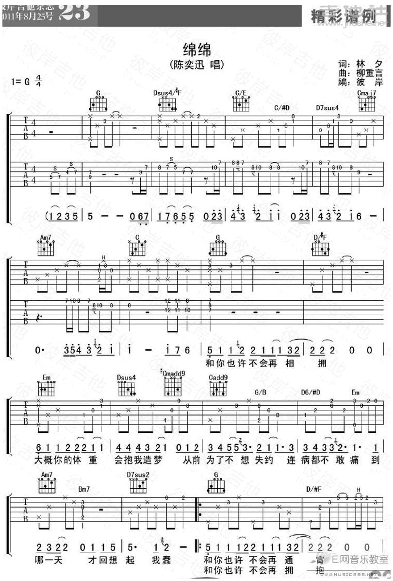 綿綿-陳奕迅-图片吉他谱-0