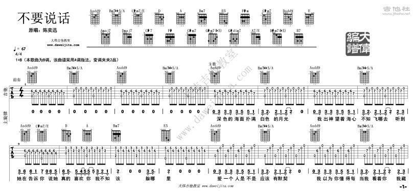 不要說話-陳奕迅-图片吉他谱-0