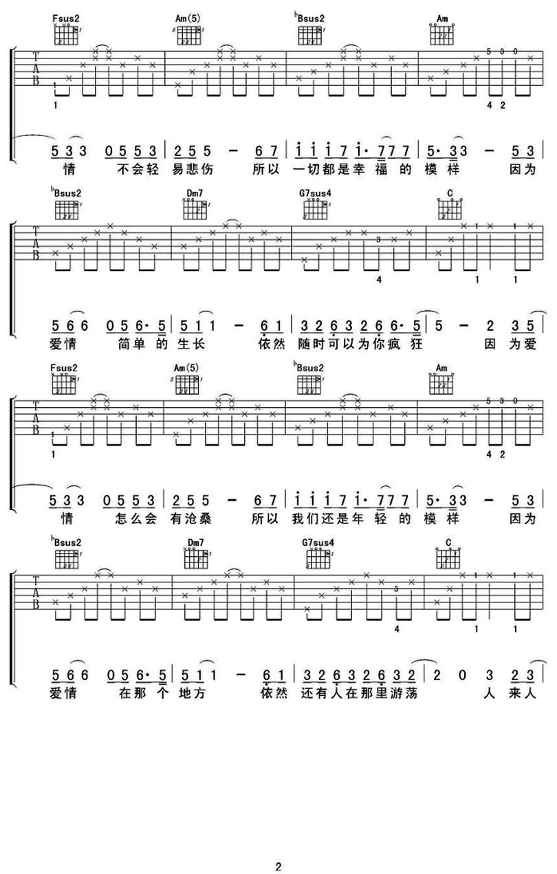 因爲愛情-陳奕迅-图片吉他谱-1