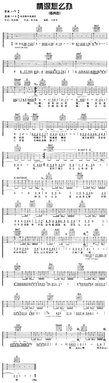情深怎麼辦-陳奕迅-图片吉他谱-0