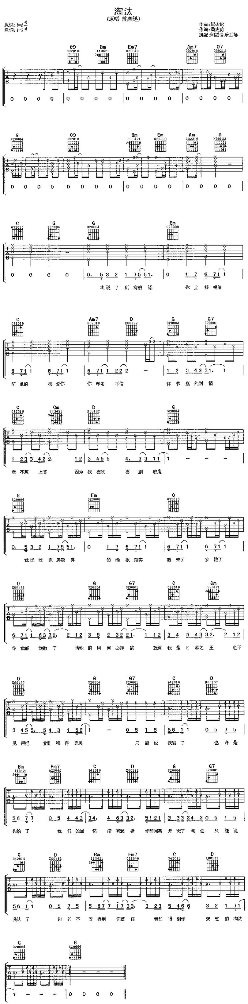 淘汰-陳奕迅-图片吉他谱-0