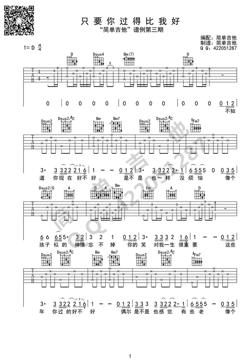 只要你過得比我好-鍾鎮濤-图片吉他谱-0