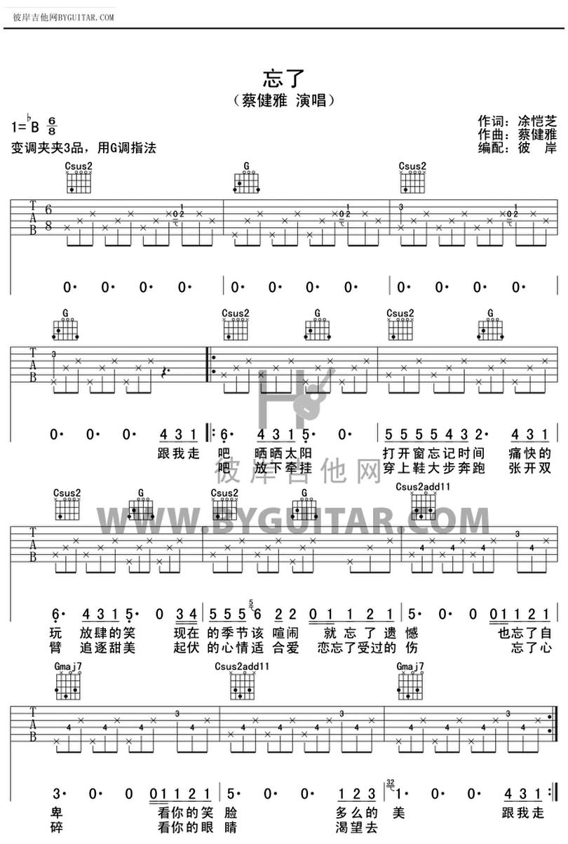 忘了-蔡健雅-图片吉他谱-0