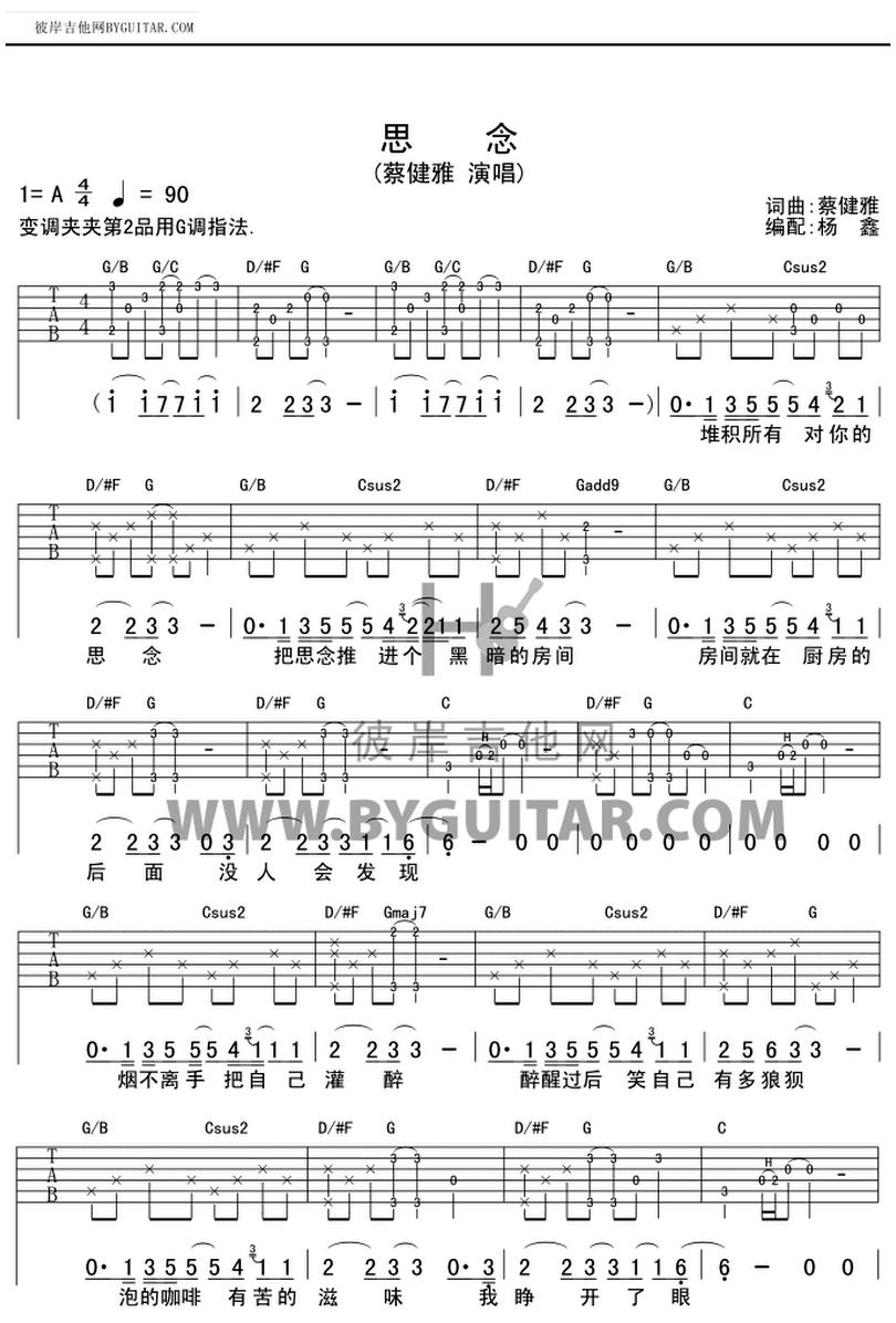 思念-蔡健雅-图片吉他谱-0
