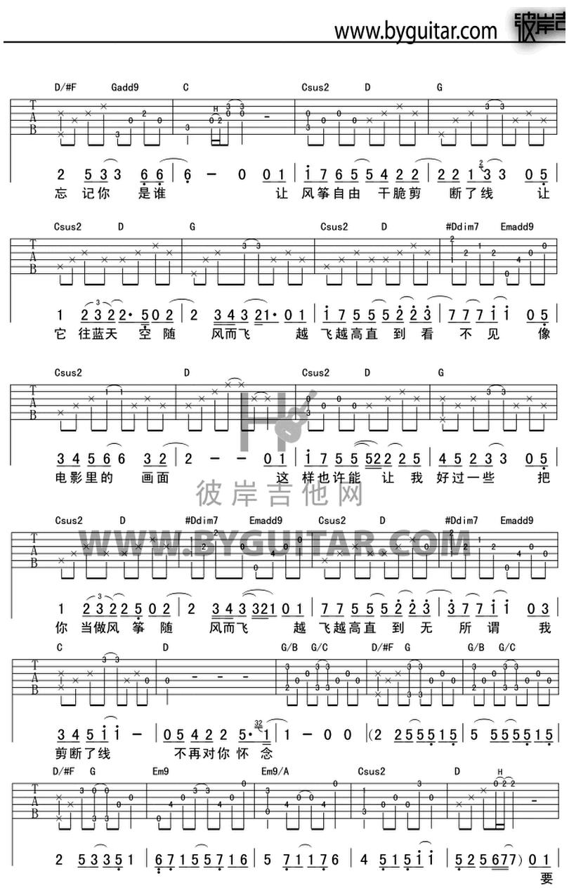 思念-蔡健雅-图片吉他谱-1