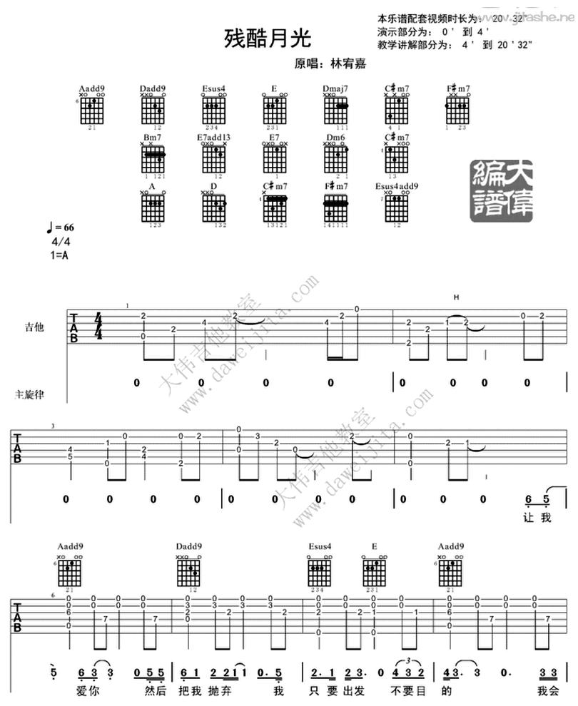 殘酷月光-林宥嘉-图片吉他谱-0