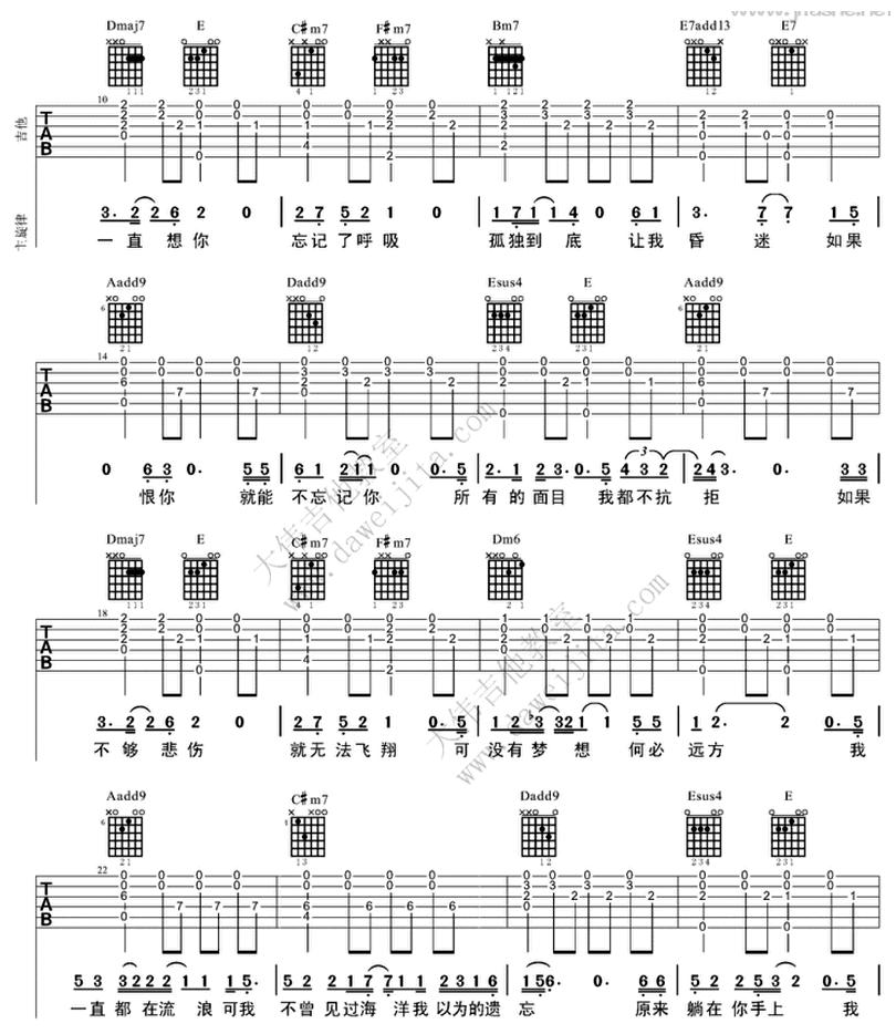 殘酷月光-林宥嘉-图片吉他谱-1