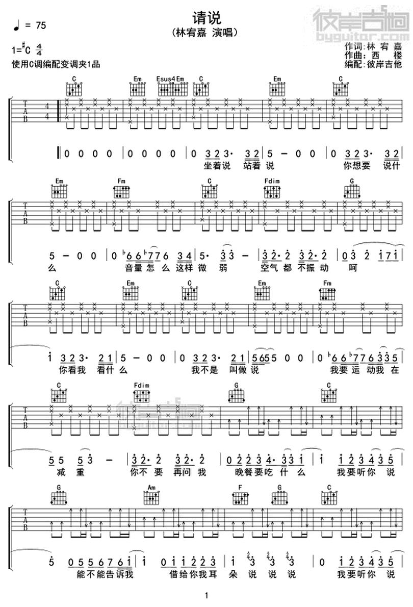 請說-林宥嘉-图片吉他谱-0