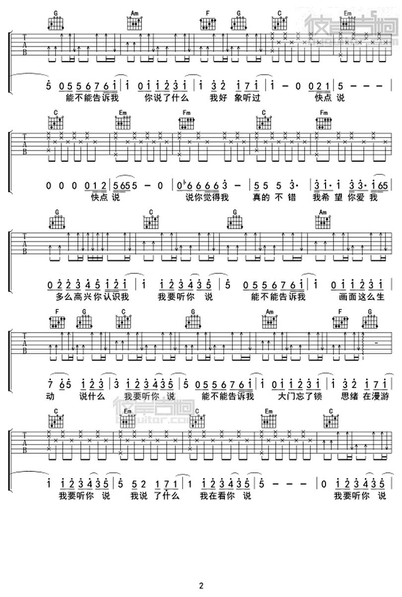 請說-林宥嘉-图片吉他谱-1