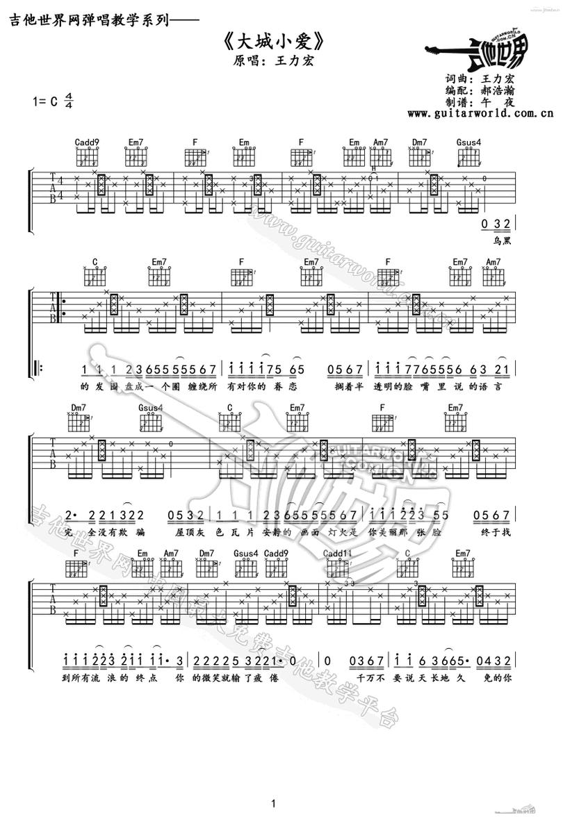 大城小愛-王力宏-图片吉他谱-0