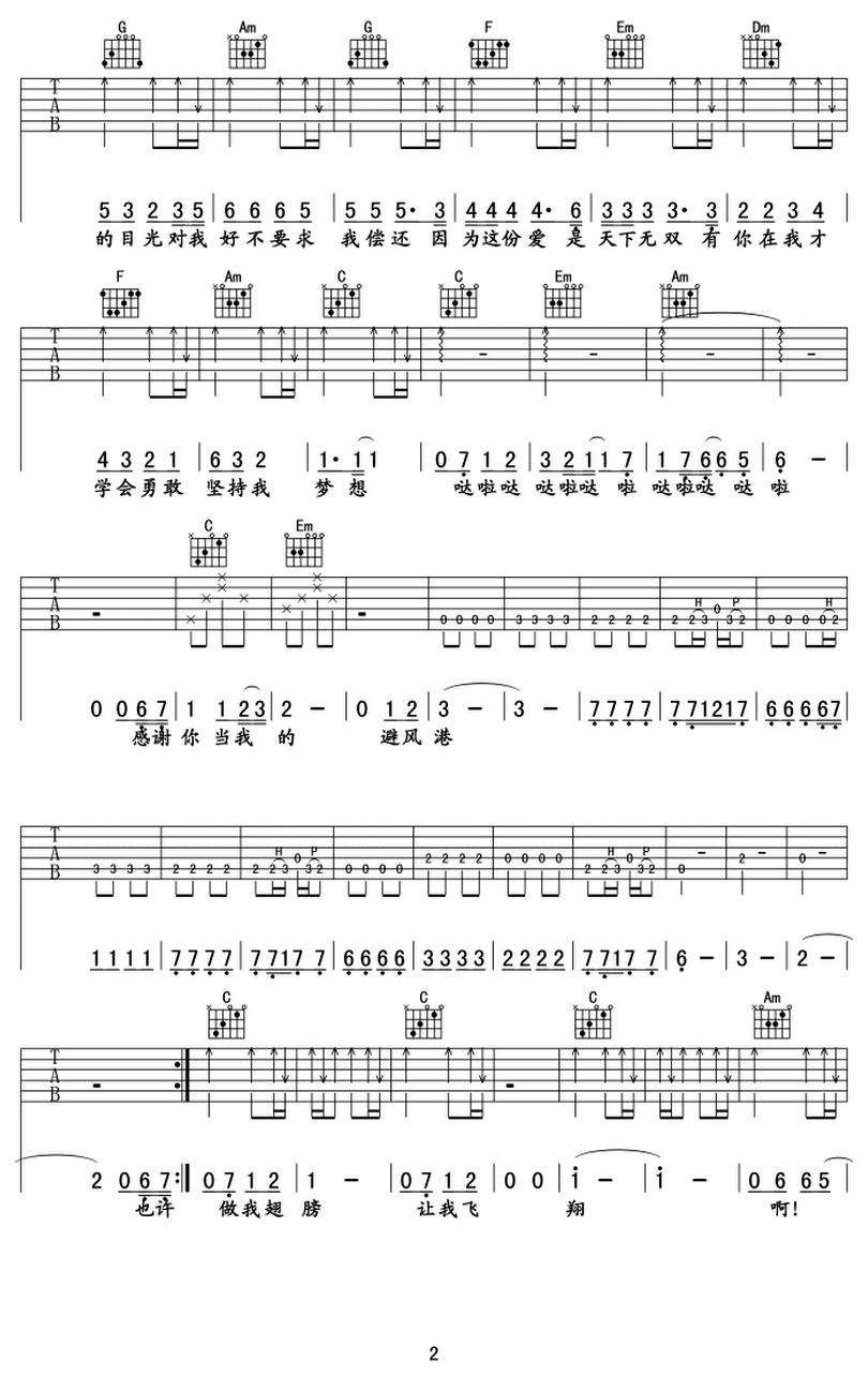避風港-馮曦妤-图片吉他谱-1