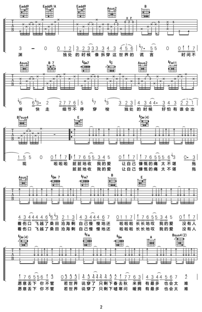 獨處的時候-蘇打綠-图片吉他谱-1
