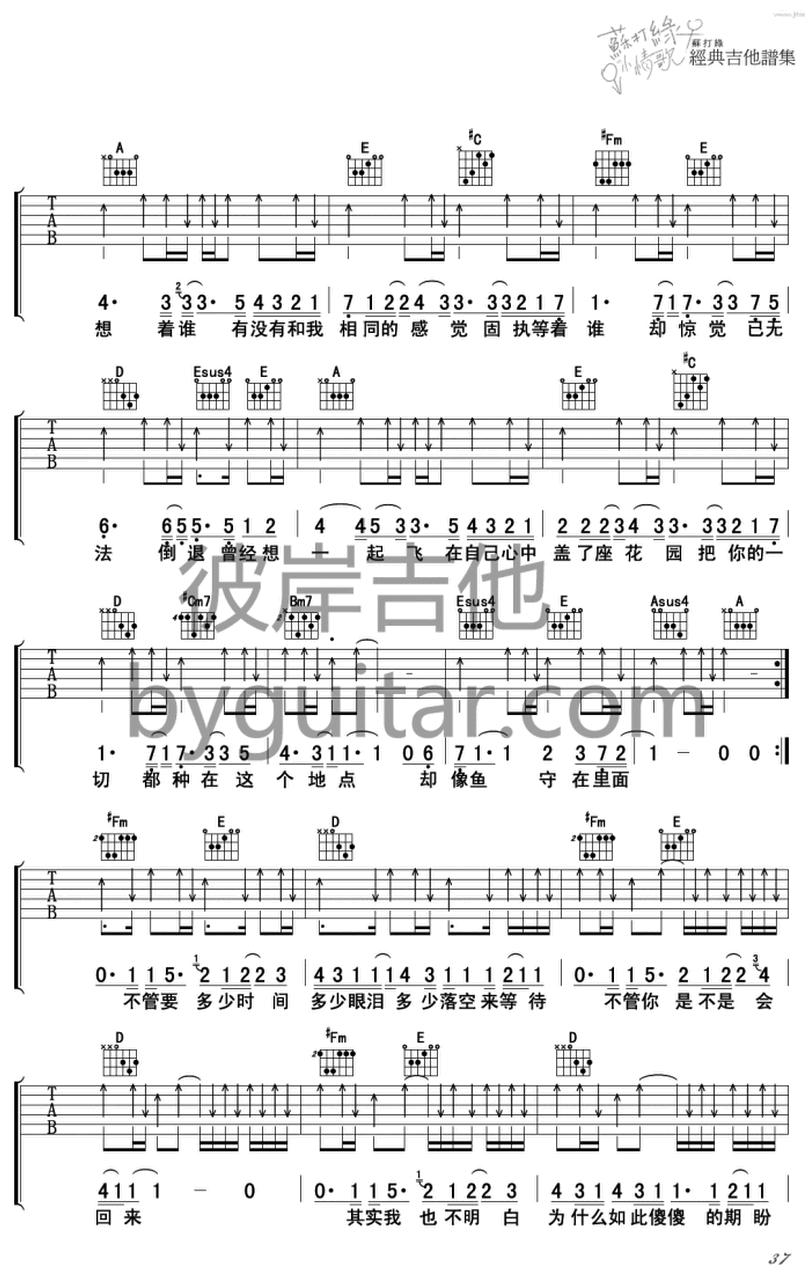 無眠-蘇打綠-图片吉他谱-1