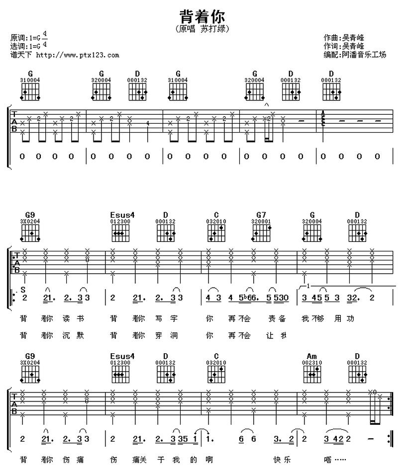 揹着你-蘇打綠-图片吉他谱-0