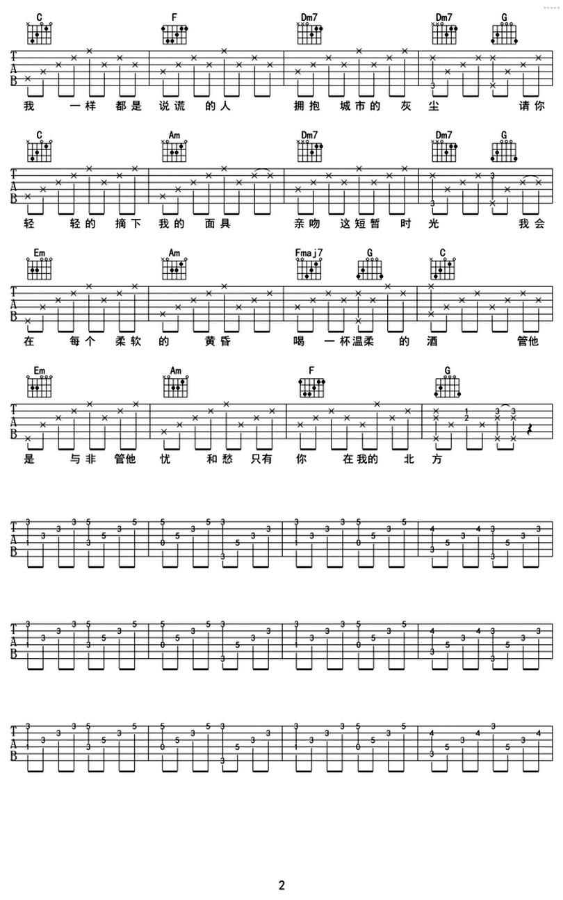 北方女王-堯十三-图片吉他谱-1