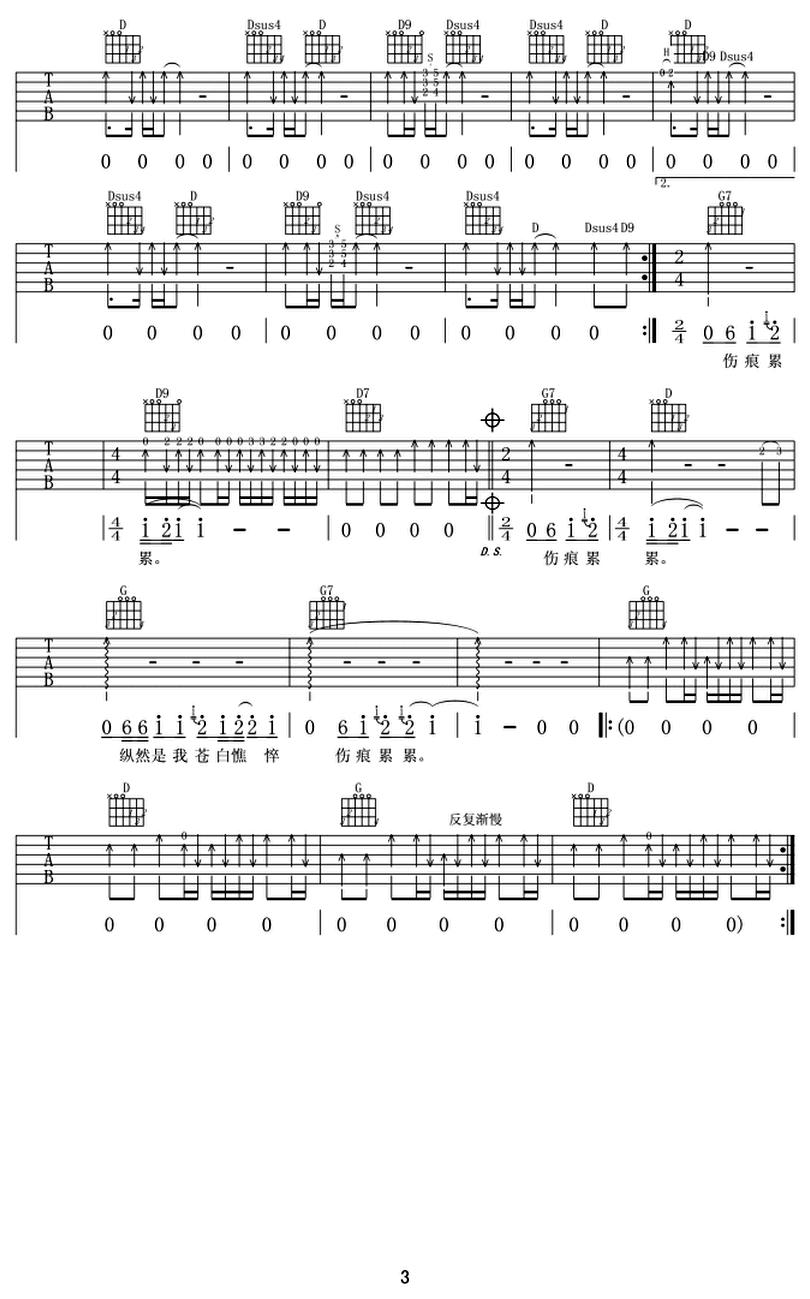 執着-許巍-图片吉他谱-2