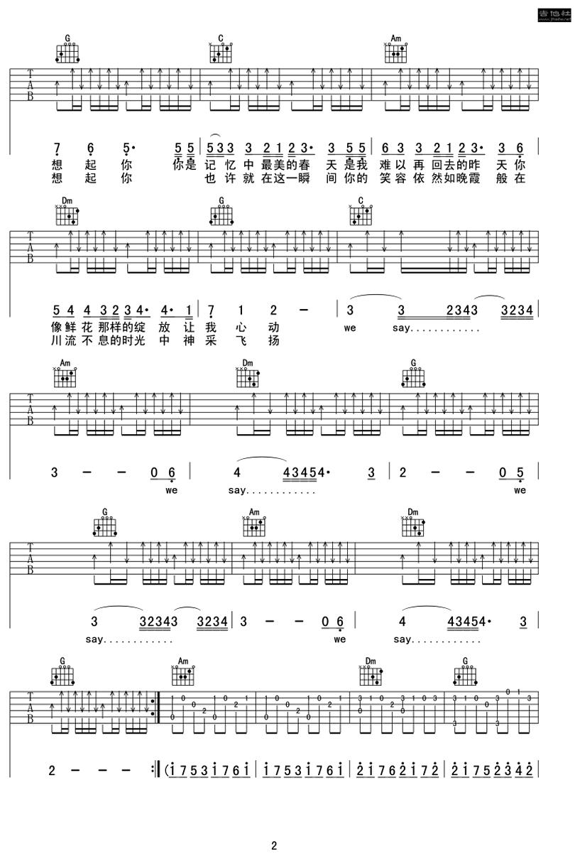 時光-許巍-图片吉他谱-1