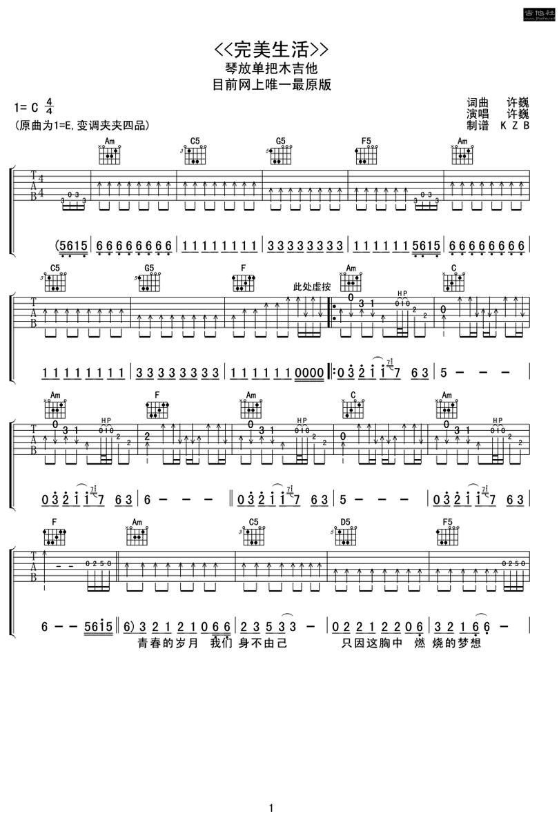 完美生活-許巍-图片吉他谱-0