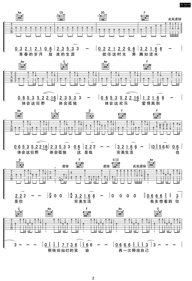 完美生活-許巍-图片吉他谱-1