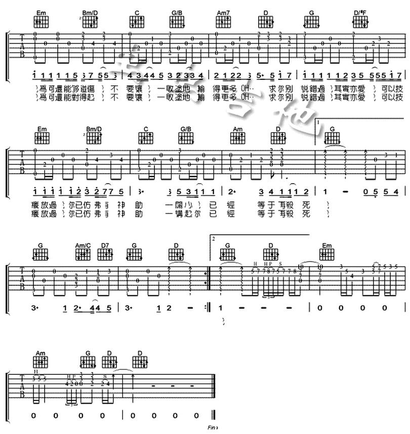 必殺技-古巨基-图片吉他谱-1