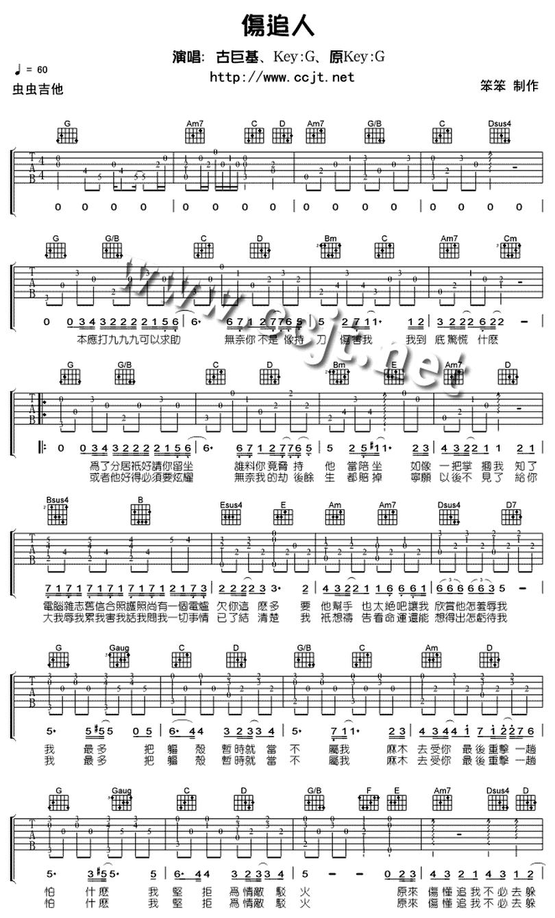 傷追人-古巨基-图片吉他谱-0